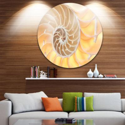 Design Art Golden Nautilus Shell Pattern Circle Metal Wall Art