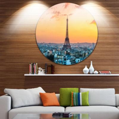Design Art Eiffel at Sunrise in Paris Circle MetalWall Art