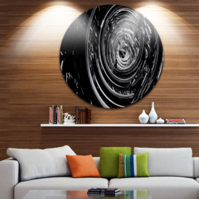 Design Art Fractal 3D Black Whirlwind Circle MetalWall Art