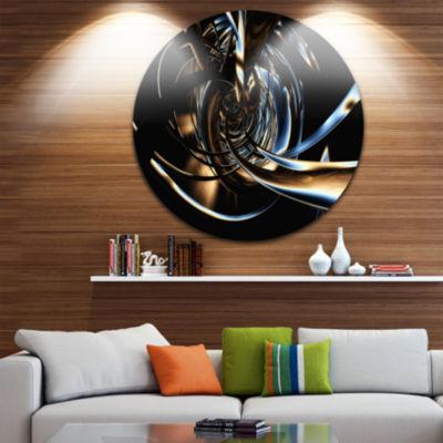 Design Art Fractal 3D Tangled Stripes Circle MetalWall Art