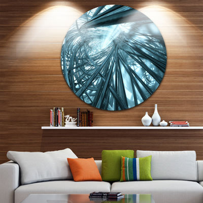 Design Art Fractal 3D Stripes Everywhere Circle Metal Wall Art