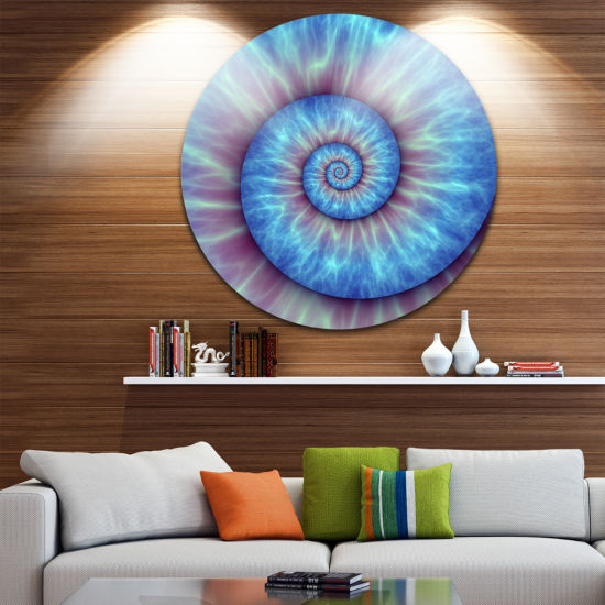 Design Art Fibonacci Pattern Blue Circle Metal Wall Art