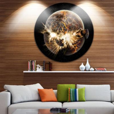Design Art Earth Apocalypse Circle Metal Wall Art