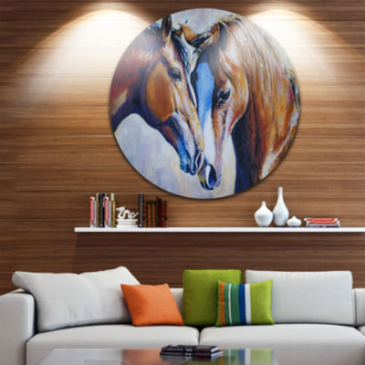 Design Art Brown Amorous Horses Circle Metal WallArt