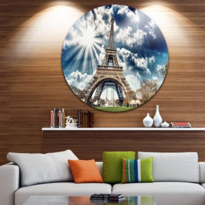 Design Art Magnificent Paris Eiffel TowerView Circle Metal Wall Art