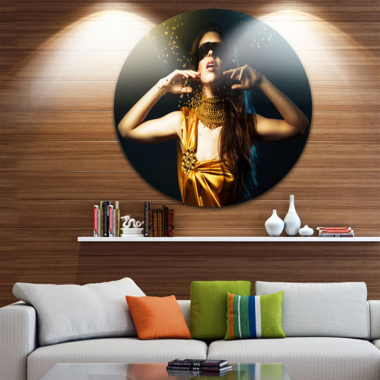 Design Art Woman in Yellow with Mask Circle MetalWall Art