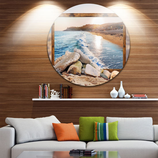 Design Art Framed Effect Rocky Beach Circle MetalWall Art