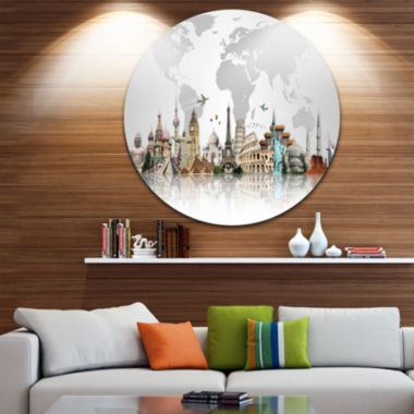 Design Art Famous Monuments Across World Circle Metal Wall Art