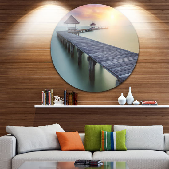 Design Art Wooden Sea Bridge and Sunset Circle Metal Wall Art