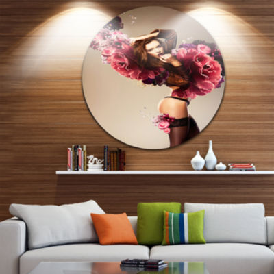 Design Art Nude Woman with Pink Flowers Circle Metal Wall Art