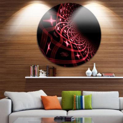 Design Art Fractal Purple Dense Stripes Circle Metal Wall Art