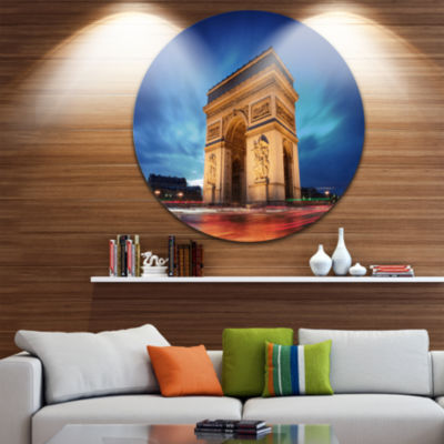 Design Art Arch of Triumph in Paris Circle Metal Wall Art