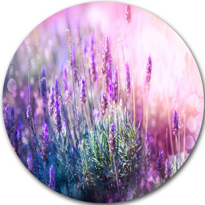 Design Art Growing and Blooming Lavender Circle Metal Wall Art