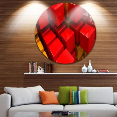 Design Art Fractal 3D Red N Yellow Cubes Circle Metal Wall Art
