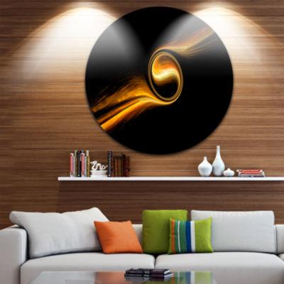 Design Art Fractal 3D Dancing Yellow Design CircleMetal Wall Art