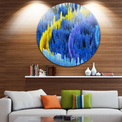 Design Art Macro Render Structure Blue Yellow Circle Metal Wall Art