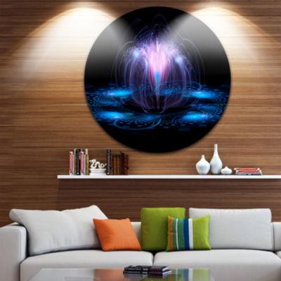 Design Art Fractal Blue Flowing Flower Circle Metal Wall Art