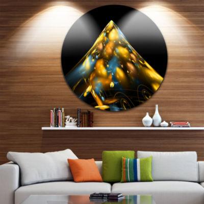 Design Art Fractal Golden Blue Structure Circle Metal Wall Art