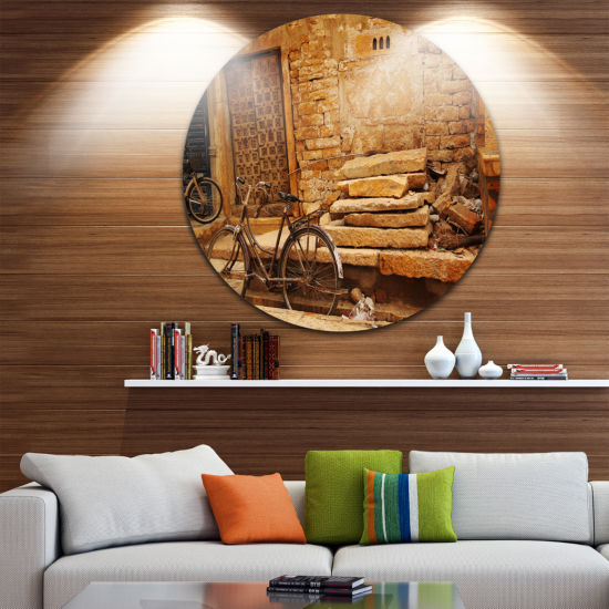 Design Art Bicycle against Brown Wall Circle MetalWall Art