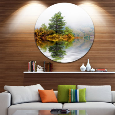 Design Art Pine Tree with Reflection Circle MetalWall Art