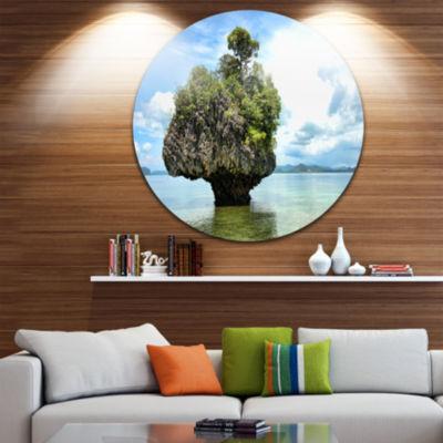 Design Art Tree Island in Summer Circle Metal WallArt