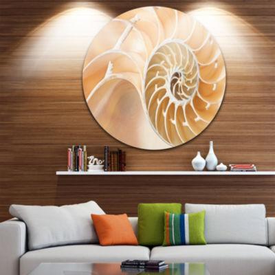 Design Art Brown Nautilus Shell Pattern Circle Metal Wall Art