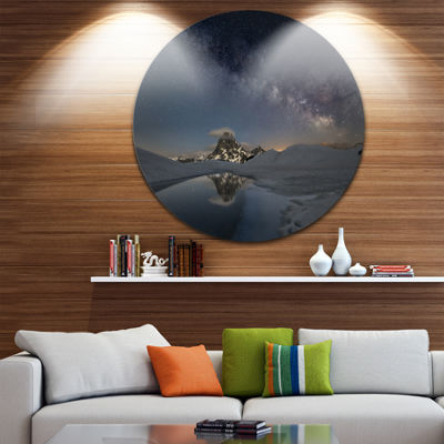 Design Art Dark Mountains in Spain Circle Metal Wall Art