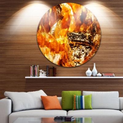 Design Art Shiny Orange Gold Foil Circle Metal Wall Art