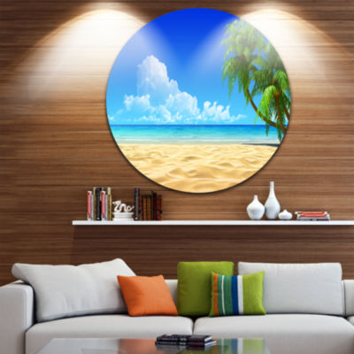 Design Art Coconut Palms Bent into Beach Circle Metal Wall Art