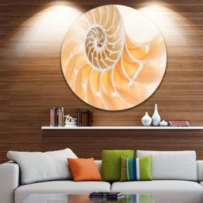 Design Art Light Brown Nautilus Shell Circle MetalWall Art