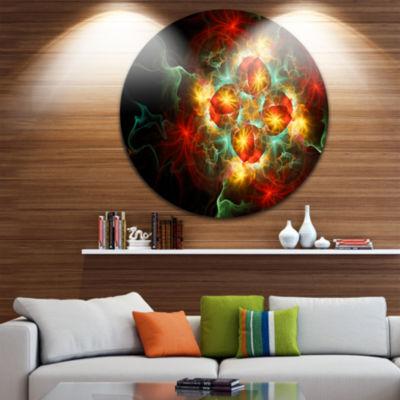 Design Art Fractal Yellow N Red Flower Circle Metal Wall Art