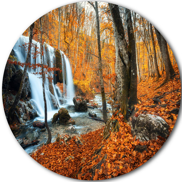 Design Art Autumn Mountain Waterfall Close View Circle Metal Wall Art