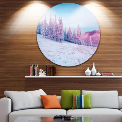 Design Art Winter Sunrise in Mountains Circle Metal Wall Art