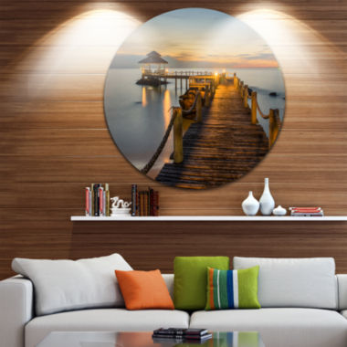 Design Art Brown Wooden Pier in Evening Circle Metal Wall Art