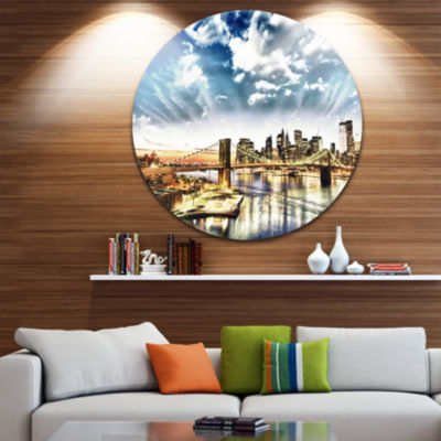 Design Art Winter Clouds Over Manhattan Circle Metal Wall Art