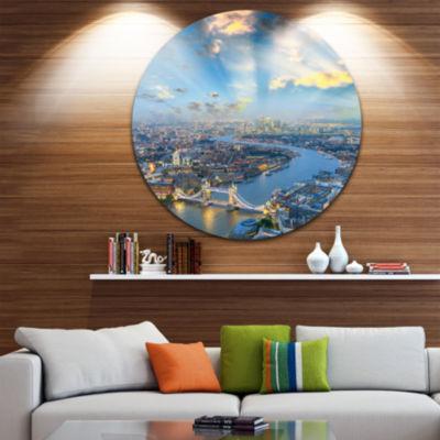 Design Art Tower Bridge Area and City Light CircleMetal Wall Art