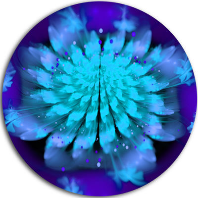 Design Art Fractal Blue Spread out Flower Circle Metal Wall Art
