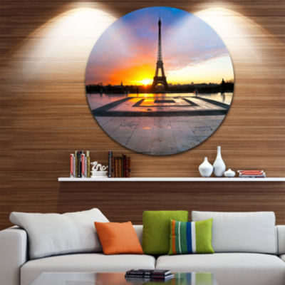 Design Art Paris Eiffel Towerat Beautiful SunriseCircle Metal Wall Art