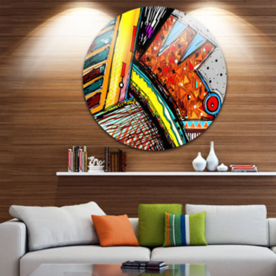 Design Art Colorful Abstract Illustration Circle Metal Wall Art
