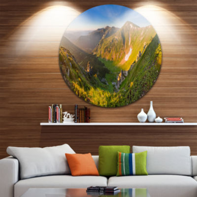 Design Art Karpaty Highrise Mountains Circle MetalWall Art