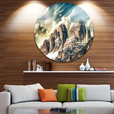 Design Art High Peaks of Dolomites Circle Metal Wall Art