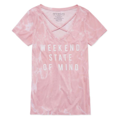 "Short Sleeve "" Weekend State of Mind"" Graphic T-Shirt- Juniors Plus"