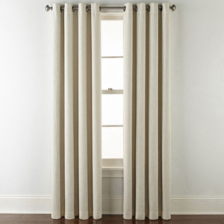 JCPenney Home Sullivan Blackout Grommet-Top Single Curtain Panel, One Size , Beige