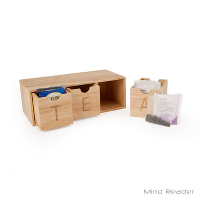 Mind Reader 3 Compartment Wood Tea Box Organizer