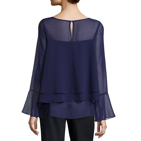 By Artisan Bell Sleeve Tiered Chiffon Blouse