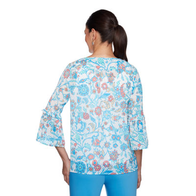 Lark Lane Je Taime 3/4 Sleeve Split Crew Neck Georgette Lined Blouse