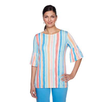 Lark Lane Je Taime Womens Crew Neck Elbow Sleeve Tunic Top