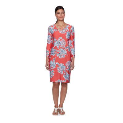 Lark Lane Must Haves III 3/4 Sleeve Floral Shift Dress