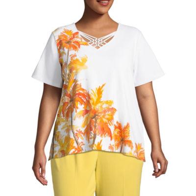 Alfred Dunner Still My Sunshine Palm Tree T-Shirt- Plus