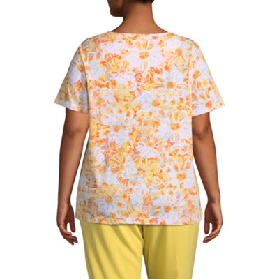 Alfred Dunner Still My Sunshine Allover Floral T-Shirt- Plus
